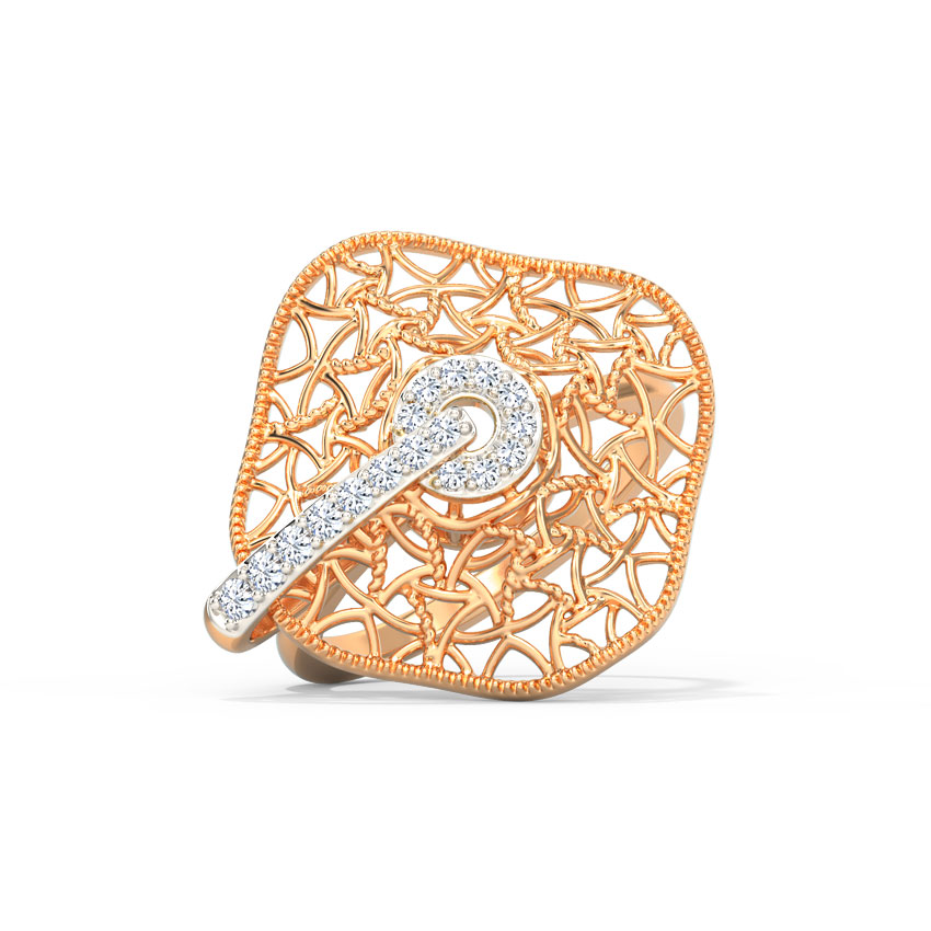 Diamond Rings 14 Karat Rose Gold Jazzy Weave Diamond Ring
