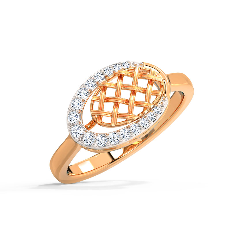 Diamond Rings 14 Karat Rose Gold Subtle Weave Diamond Ring