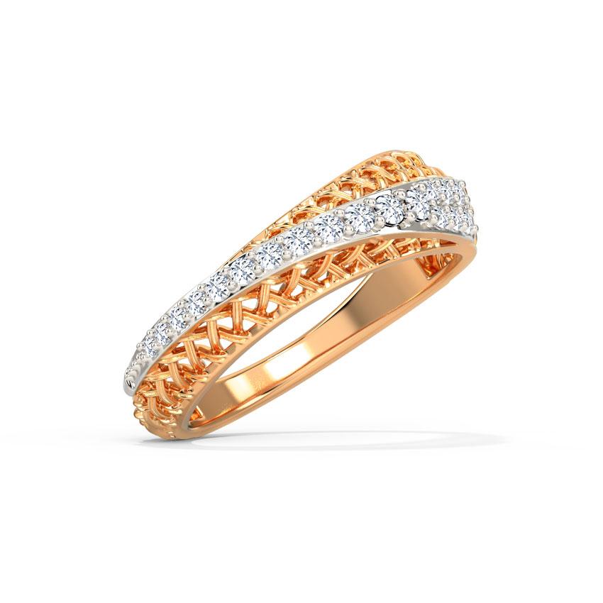Diamond Rings 14 Karat Rose Gold Stylish Weave Diamond Ring