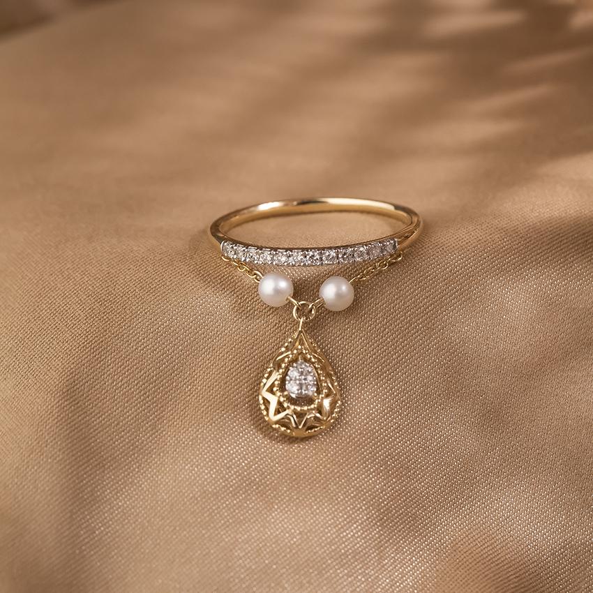 Diamond,Gemstone Rings 14 Karat Yellow Gold Delightful Drop Diamond Ring