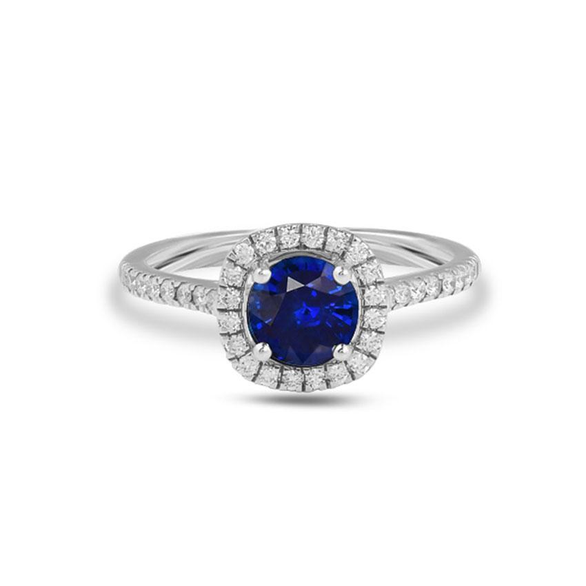 Diamond Rings 18 Karat White Gold Candice Gemstone Ring