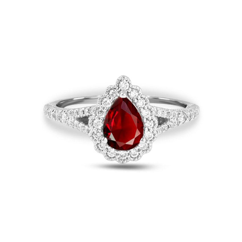 Diamond Rings 18 Karat White Gold Sabina Halo Gemstone Ring