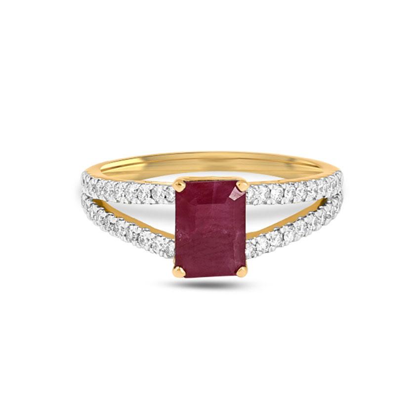Diamond Rings 18 Karat Yellow Gold Royal Gemstone Ring