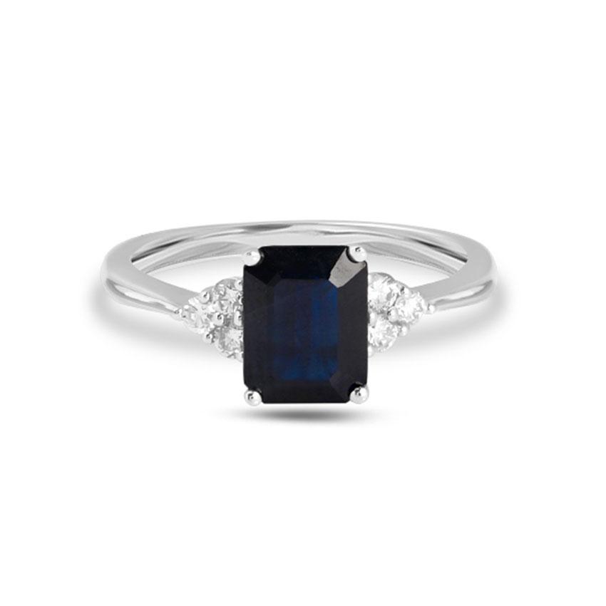 Diamond Rings 18 Karat White Gold Grace Gemstone Ring