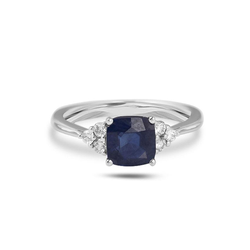 Diamond Rings 18 Karat White Gold Adelette Gemstone Ring