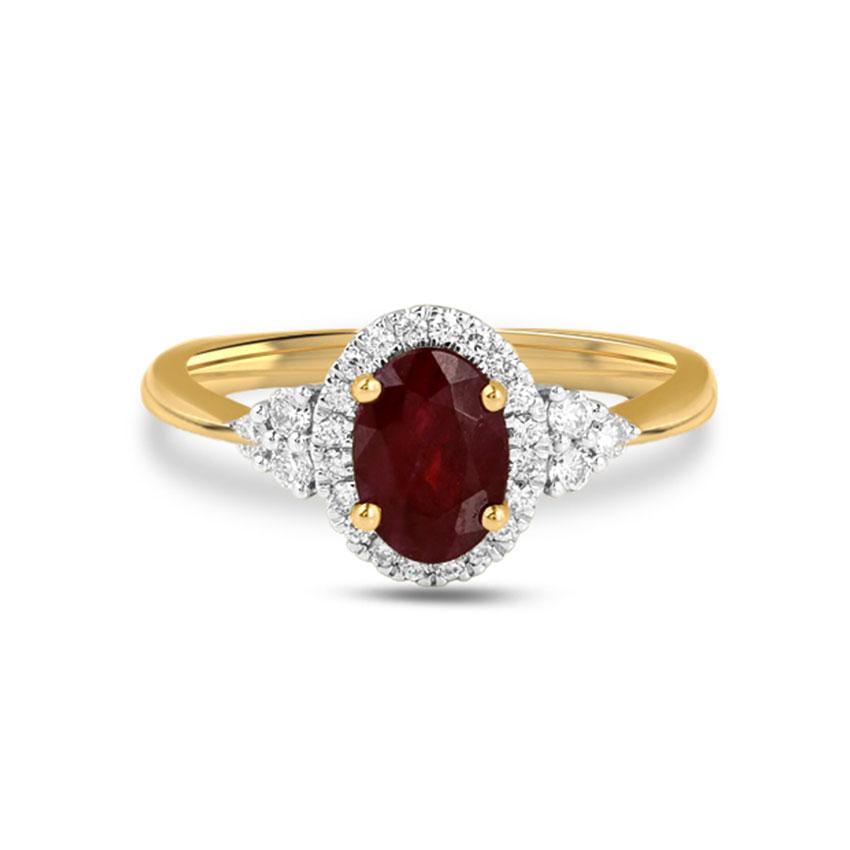 Diamond Rings 18 Karat Yellow Gold Eva Gemstone Ring