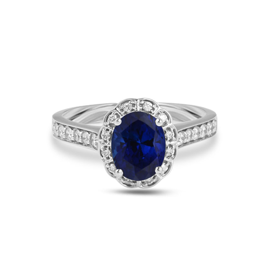 Diamond Rings 18 Karat White Gold Etty Gemstone Ring