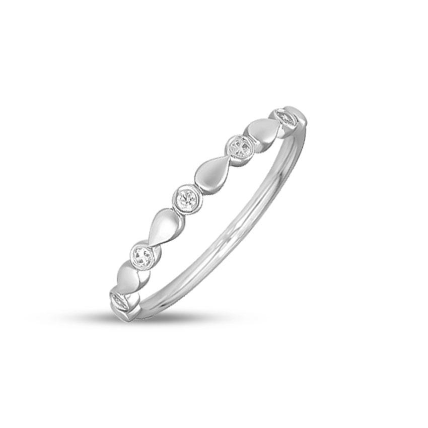 Diamond Rings 14 Karat White Gold Drop Shine Diamond Ring