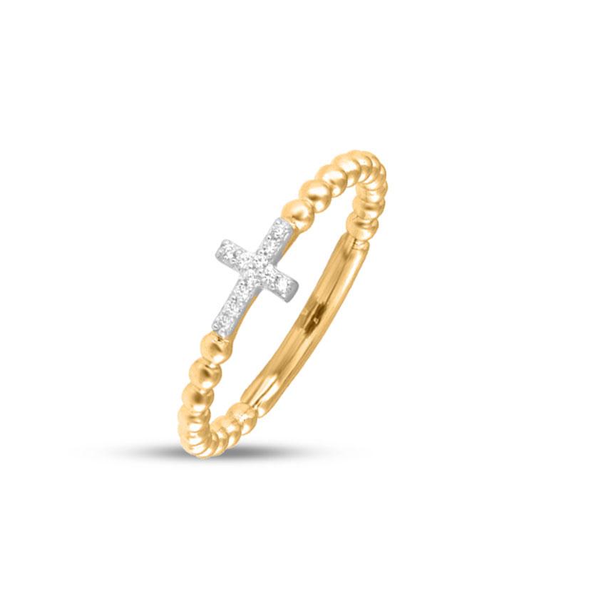 Diamond Rings 14 Karat Yellow Gold Blessed Cross Diamond Ring