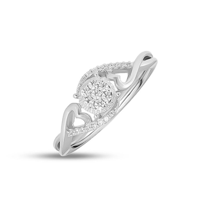 Diamond Rings 14 Karat White Gold Cluster Love Diamond Ring