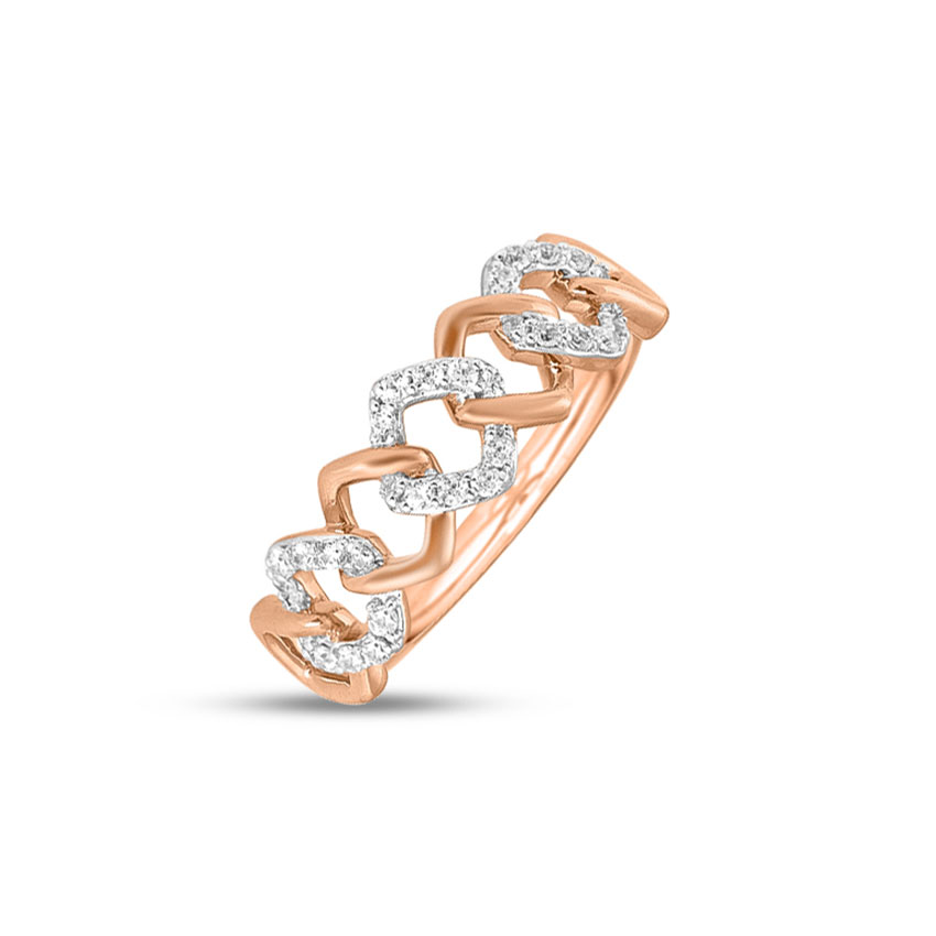 Diamond Rings 14 Karat Rose Gold Quad Link Diamond Ring