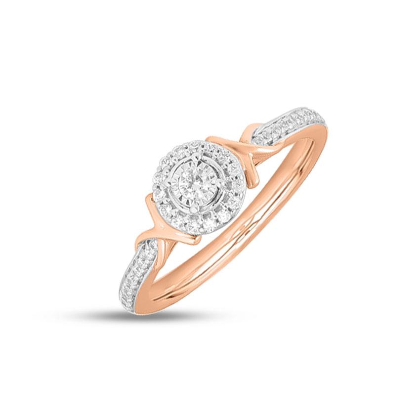Diamond Rings 14 Karat Rose Gold Emma Halo Diamond Ring