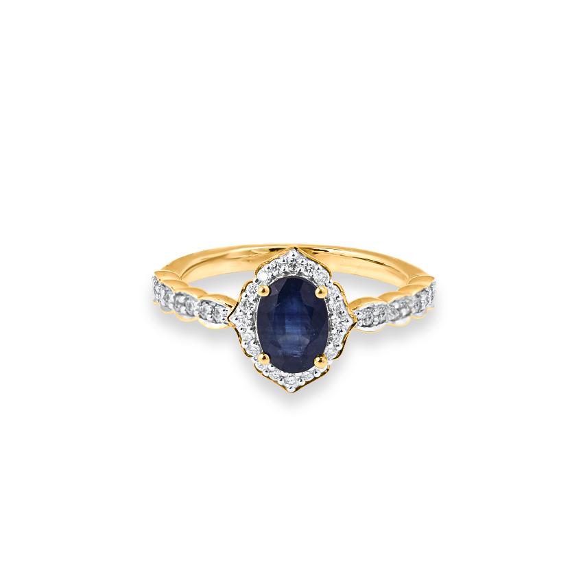 Diamond,Gemstone Rings 18 Karat Yellow Gold Ives Gemstone Band