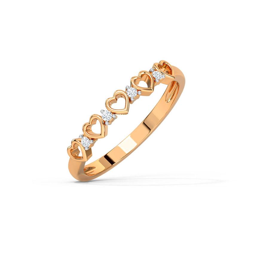 Diamond Rings 14 Karat Rose Gold Glowing Heart Diamond Band