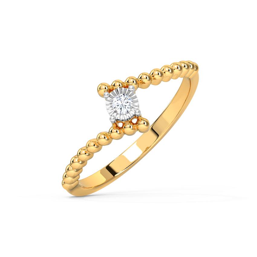 Diamond Rings 14 Karat Yellow Gold Circlet Miracle Plate Diamond Ring