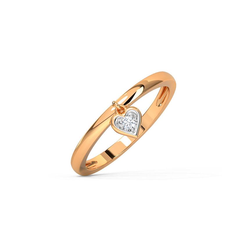 Diamond Rings 14 Karat Rose Gold Anya Dangling Diamond Ring