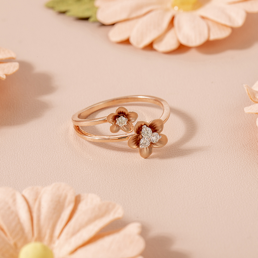Diamond Rings 14 Karat Rose Gold Cherry Blossom Diamond Ring