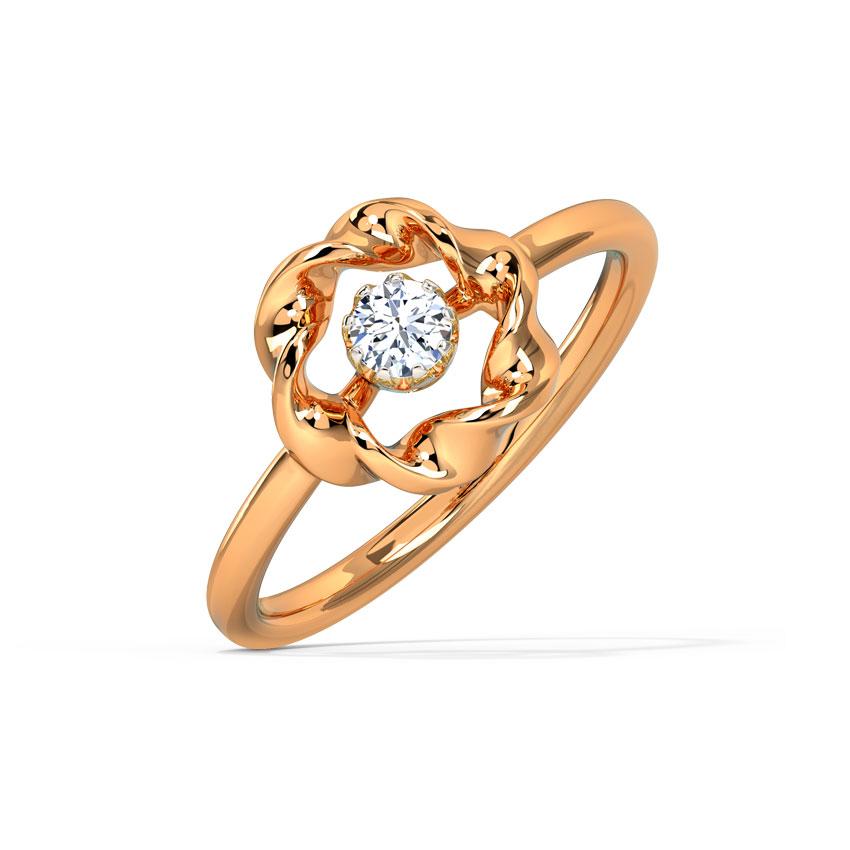 Diamond Rings 14 Karat Rose Gold Swirl Embrace Diamond Ring