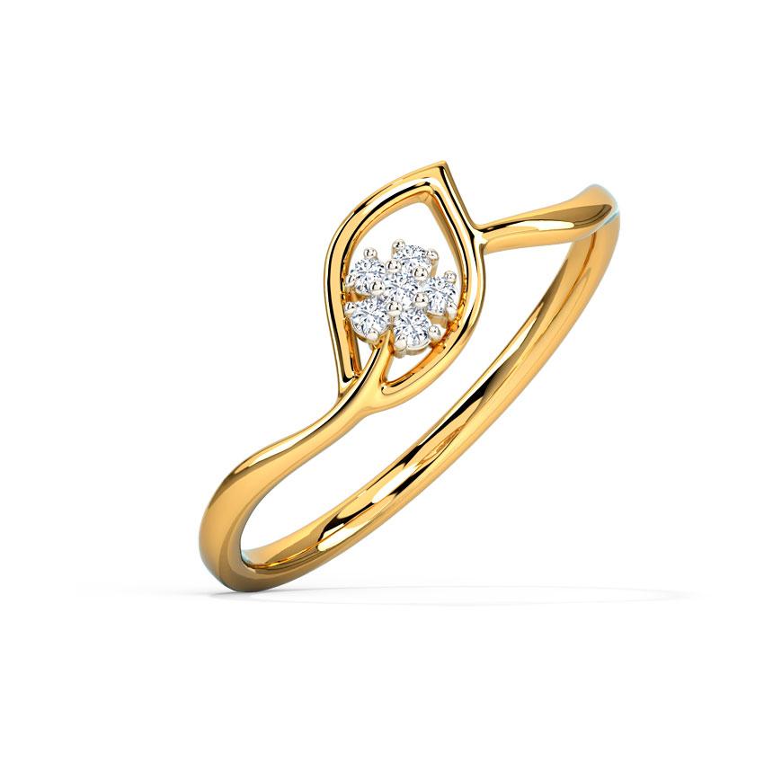 Diamond Rings 14 Karat Yellow Gold Glinting Petal Diamond Ring