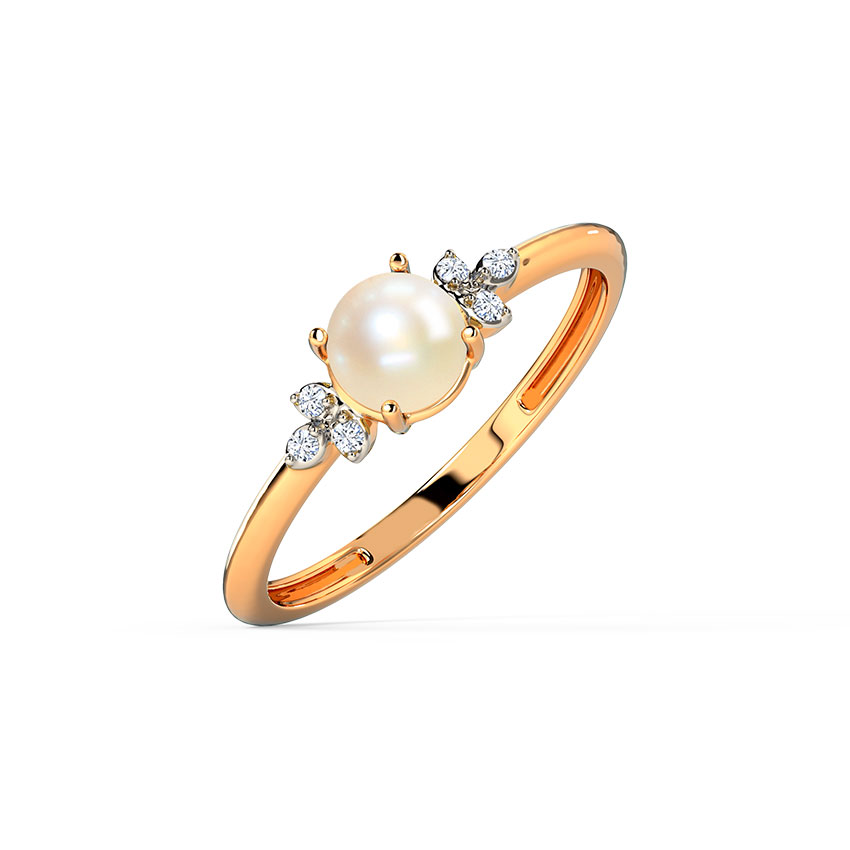 Diamond,Gemstone Rings 14 Karat Rose Gold Simple Cute Pearl Diamond Ring