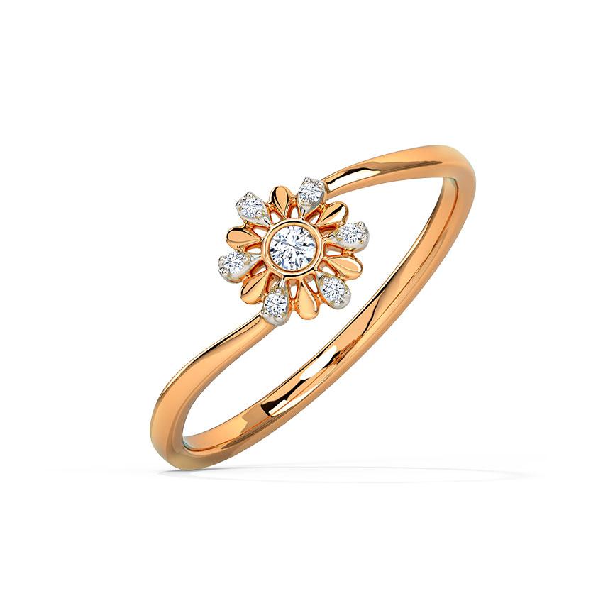 Diamond Rings 14 Karat Rose Gold Elegant Radiating Diamond Ring