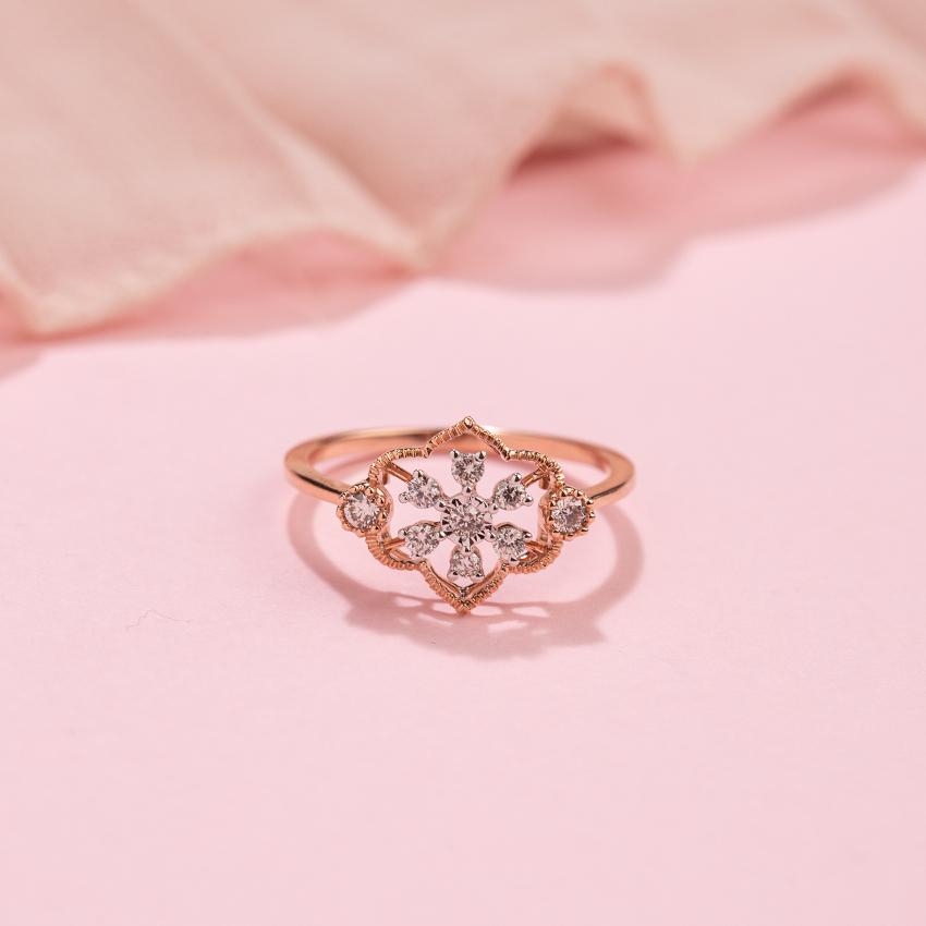 Diamond Rings 14 Karat Rose Gold Adorn Miracle Plate Diamond Ring