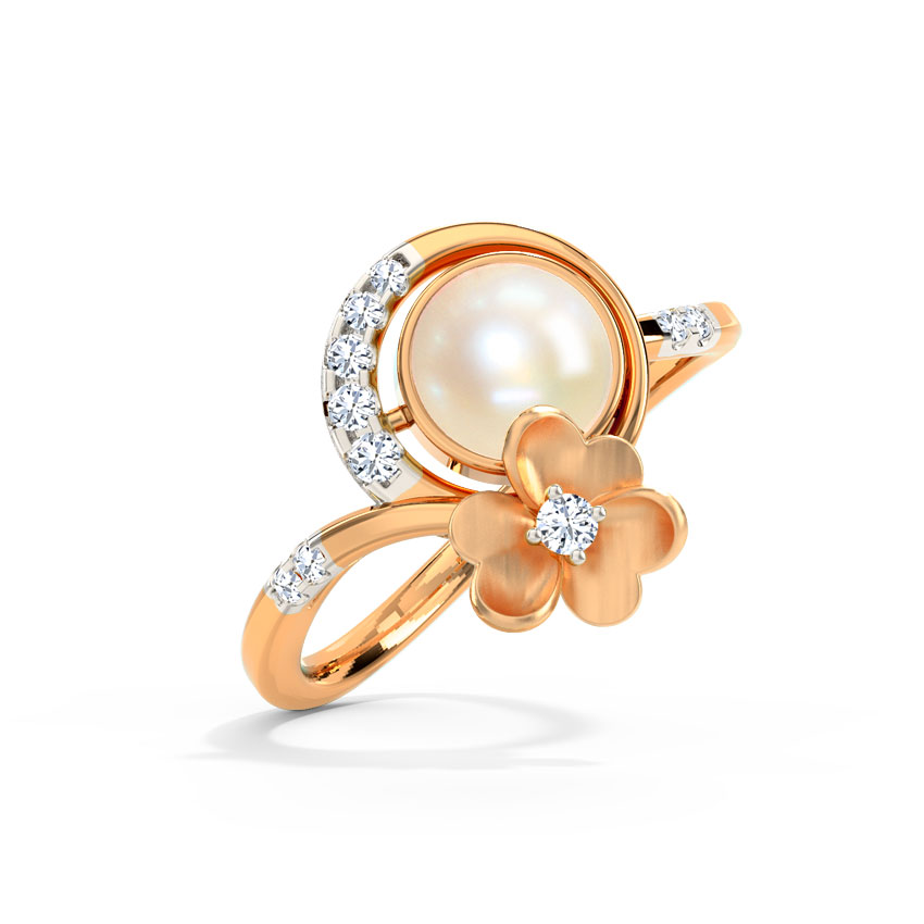 Diamond,Gemstone Rings 14 Karat Rose Gold Trio Clover Pearl Diamond Ring