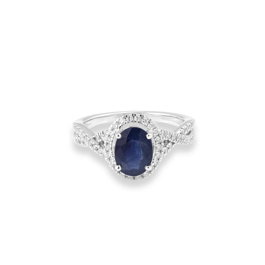 Diamond,Gemstone Rings 18 Karat White Gold Elite Gemstone Ring