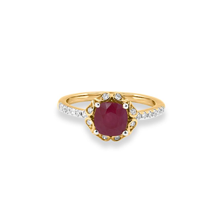 Diamond,Gemstone Rings 18 Karat Yellow Gold Camy Gemstone Ring