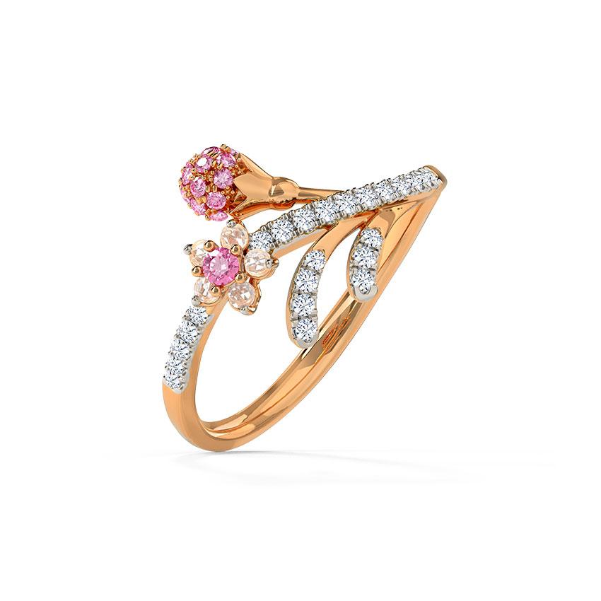 Diamond,Gemstone Rings 14 Karat Rose Gold Delightful Sakura Gemstone Ring