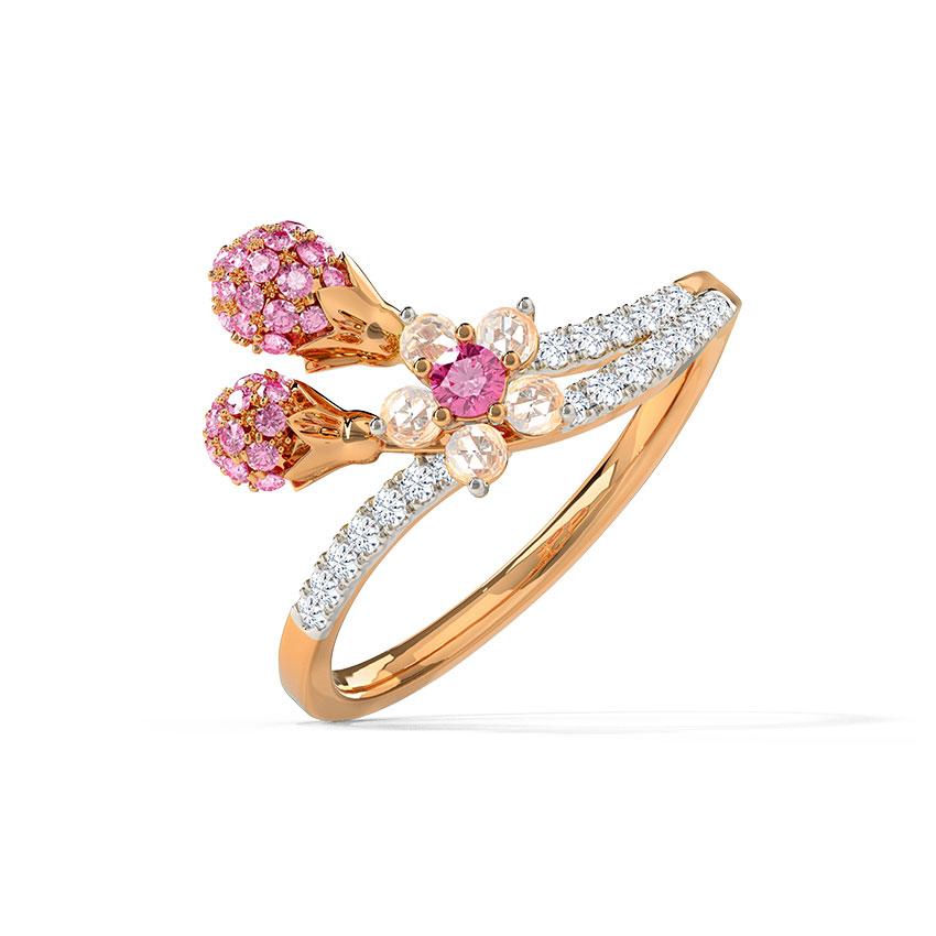 Diamond,Gemstone Rings 14 Karat Rose Gold Attractive Sakura Gemstone Ring