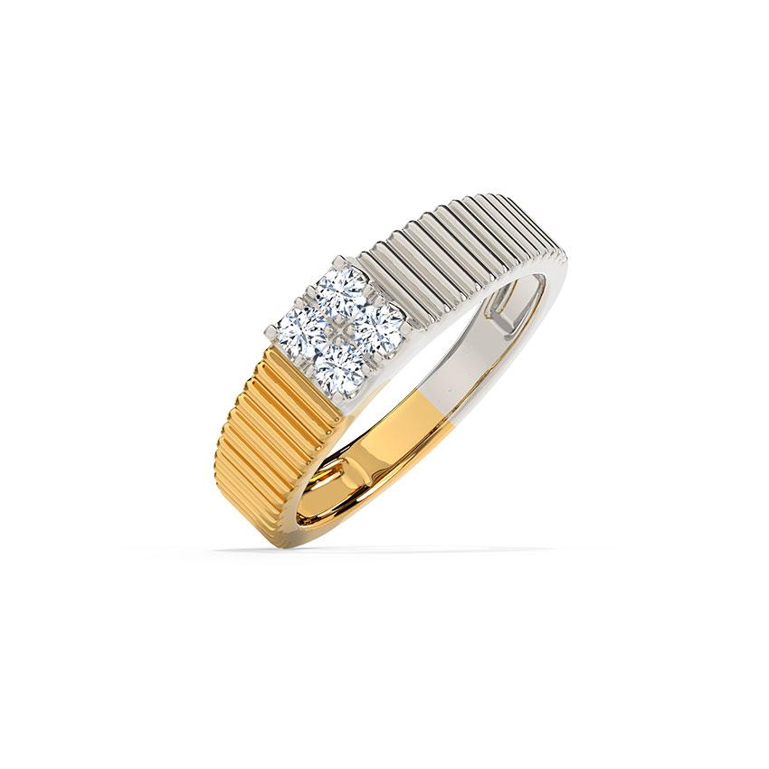 Diamond Rings 14 Karat Two Tone Gold Elio Diamond Ring for Men