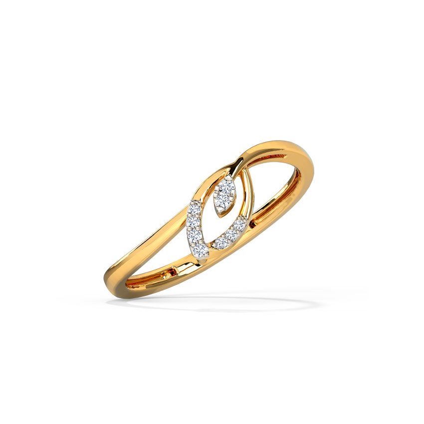Diamond Rings 14 Karat Yellow Gold Elegant Petal Diamond Ring