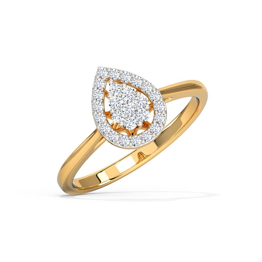 Diamond Rings 14 Karat Yellow Gold Mirage Drop Halo Diamond Ring