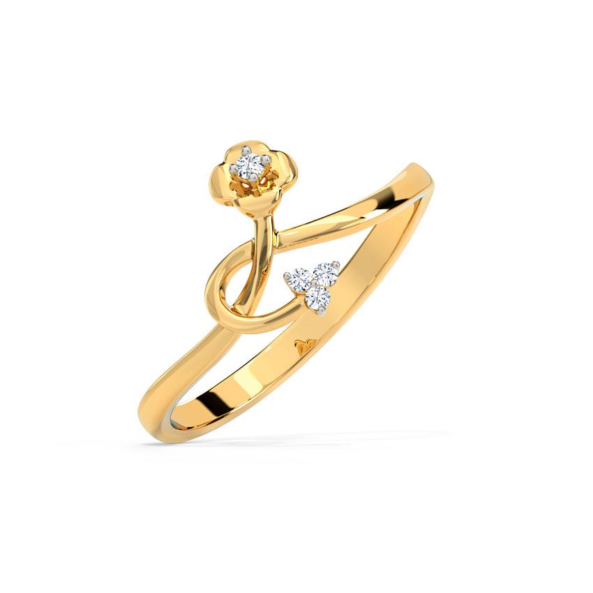 Diamond Rings 14 Karat Yellow Gold Delicate Blooming Diamond Ring