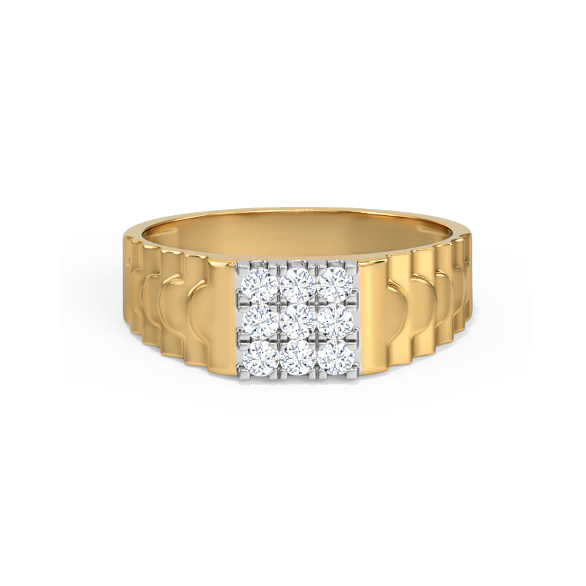 Diamond Rings 14 Karat Yellow Gold Dev Diamond Ring for Men
