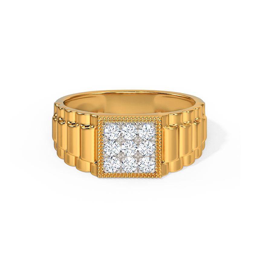 Diamond Rings 14 Karat Yellow Gold Aarav Diamond Ring for Men