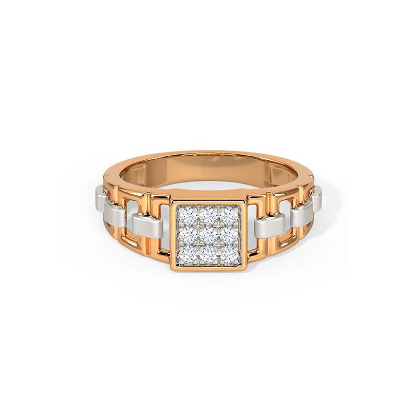 Diamond Rings 14 Karat Rose Gold Logan Diamond Ring for Men