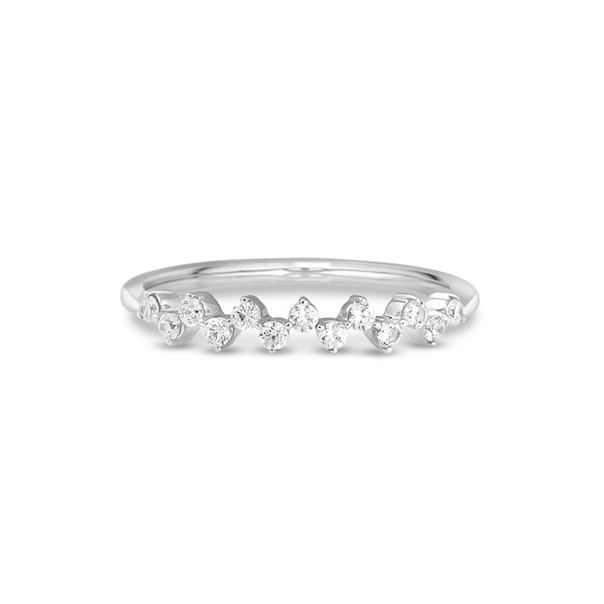 Diamond Rings 14 Karat White Gold Groovy Diamond Band