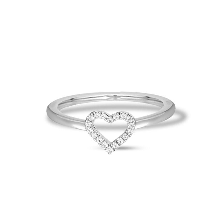 Diamond Rings 14 Karat White Gold Cheery Heart Diamond Ring