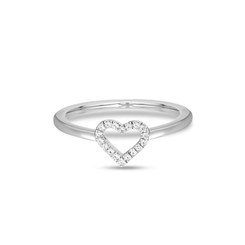 Diamond Rings 14 Karat White Gold Delightful Heart Diamond Ring