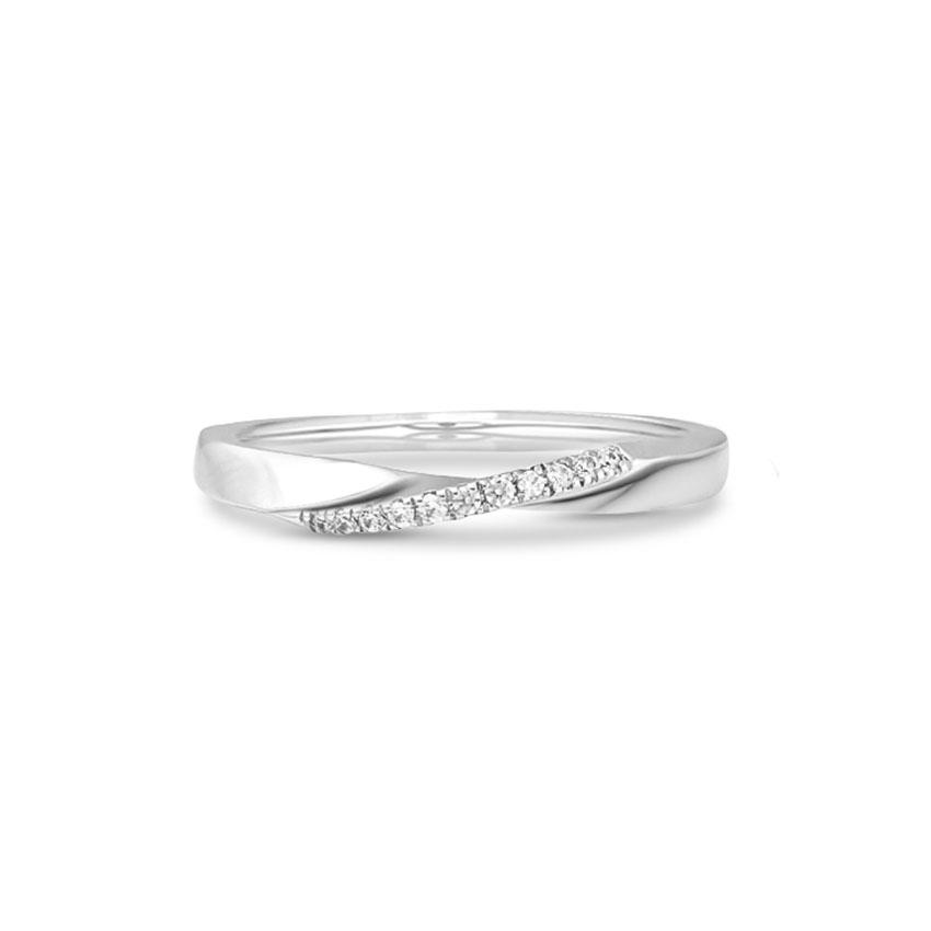 Diamond Rings 14 Karat White Gold Gleaming Twisted Bar Ring