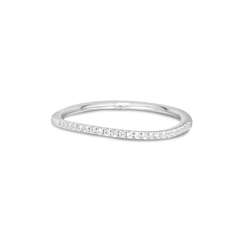 Diamond Rings 14 Karat White Gold Wavy Diamond Band