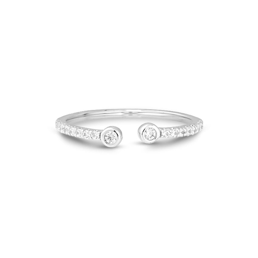 Diamond Rings 14 Karat White Gold Twin Diamond Open Ring