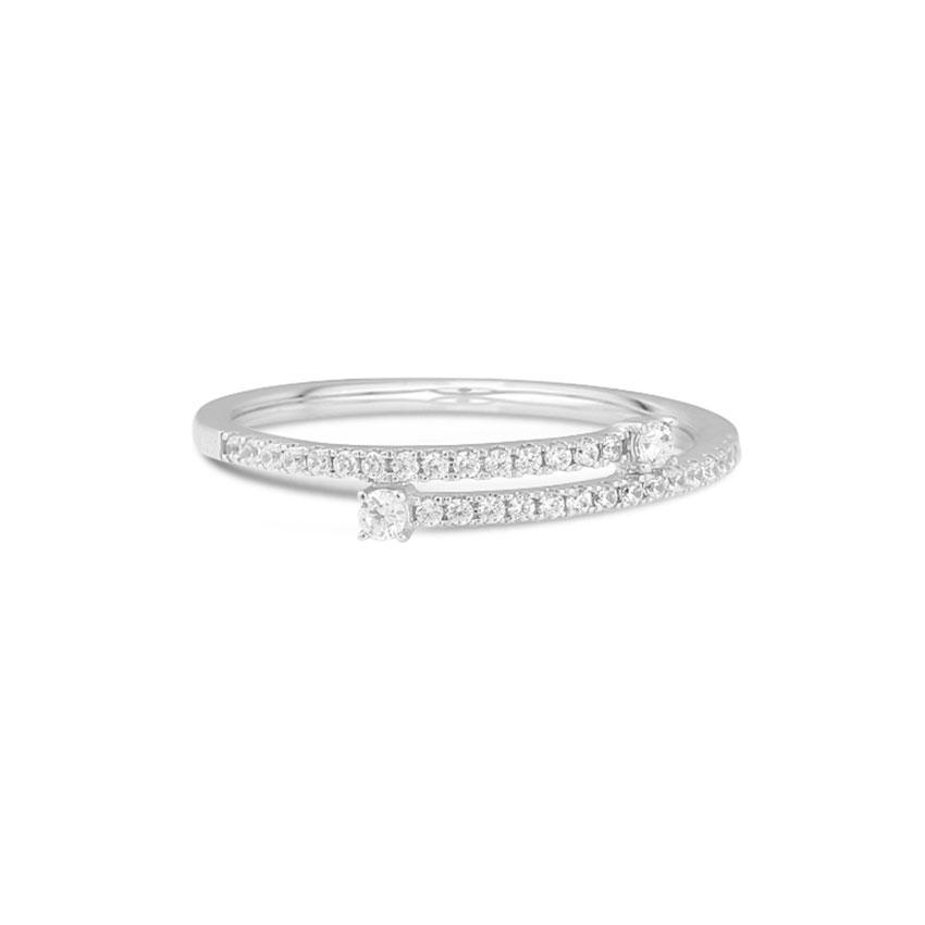 Diamond Rings 14 Karat White Gold Majestic Crossover Diamond  Ring