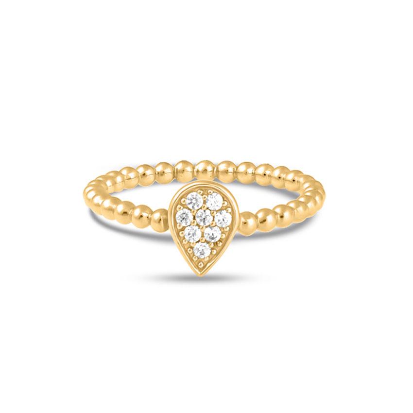 Diamond Rings 14 Karat Yellow Gold Fetching Drop Diamond Ring