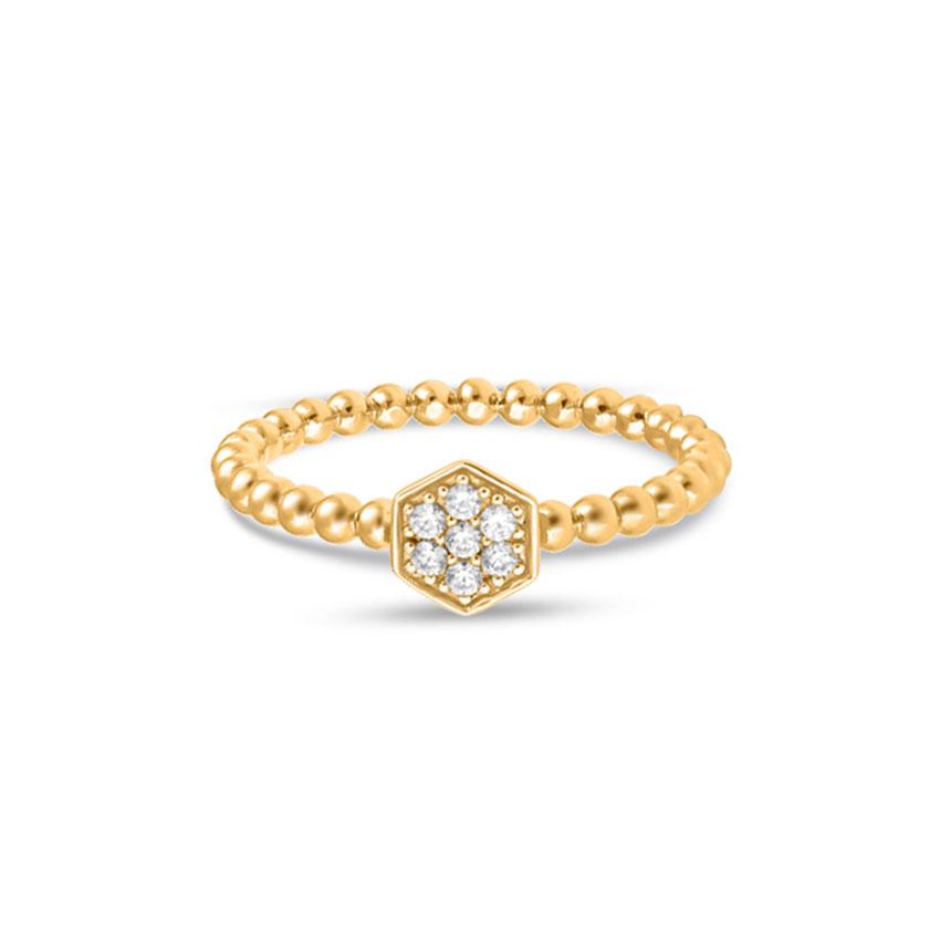 Diamond Rings 14 Karat Yellow Gold Enchanting Fashion Ring
