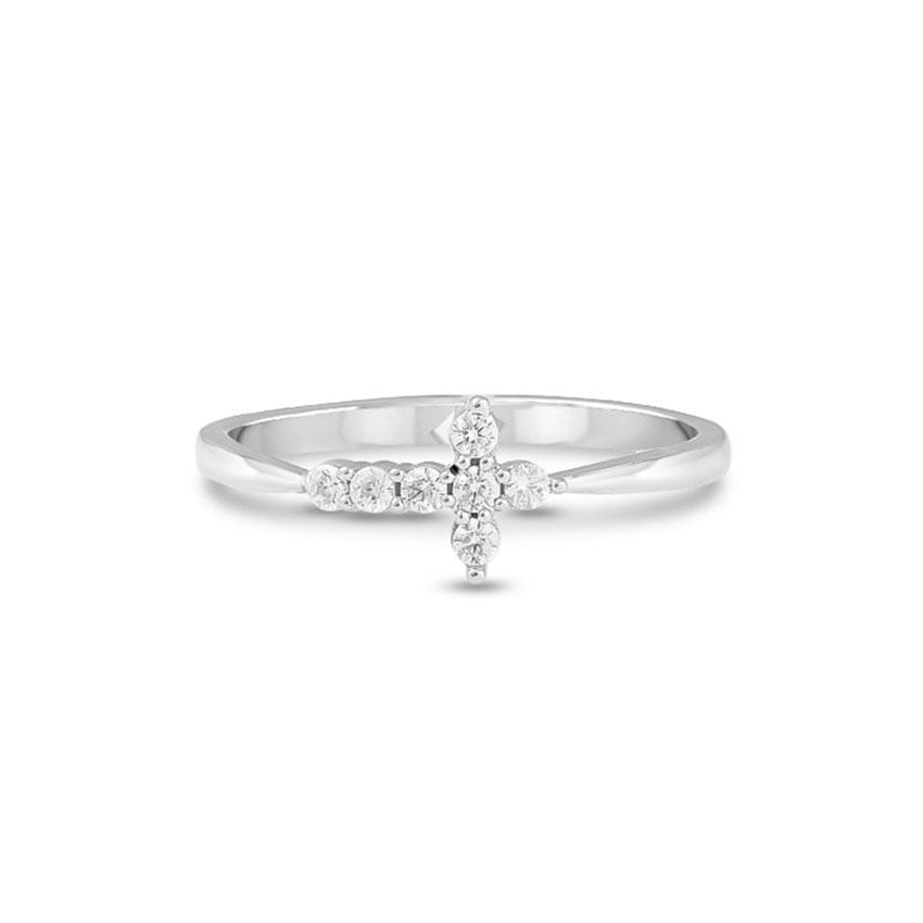 Diamond Rings 14 Karat White Gold Graceful Cross Diamond Ring