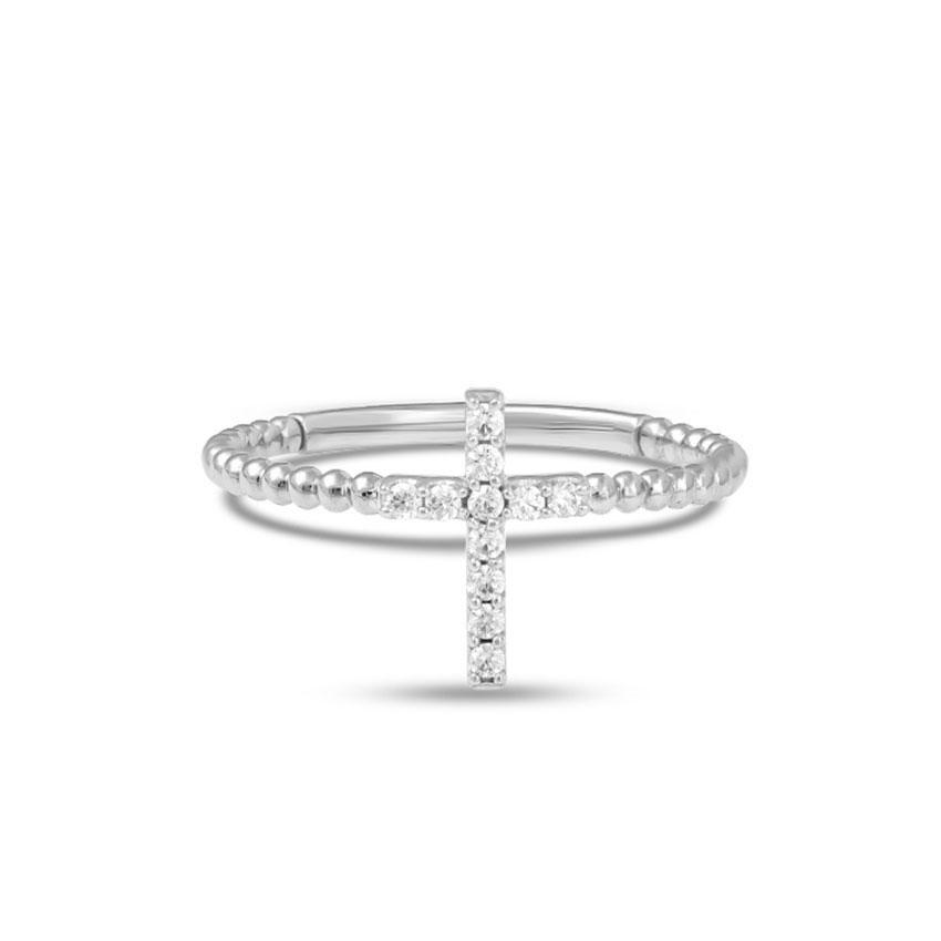 Diamond Rings 14 Karat White Gold Classic Cross Diamond Ring