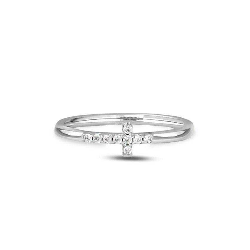 Diamond Rings 14 Karat White Gold Abiya Cross Diamond Ring